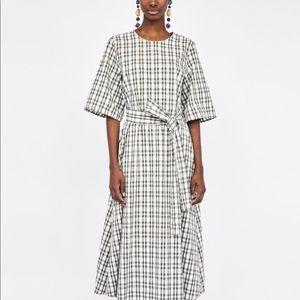 Zara Midi check Dress with belt
